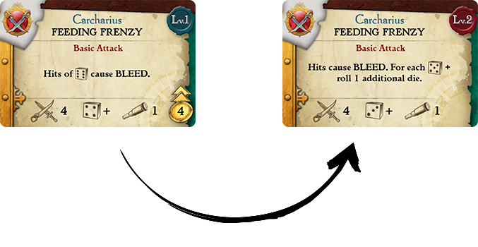 Each skill flips over to reveal its Level 2 version!