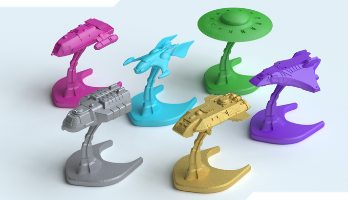Custom designed starship minatures (included with the Premium version), which reflect the background and level of technology of each alien faction. Each starship miniature base is 35mm, with a height of 28 - 32mm.