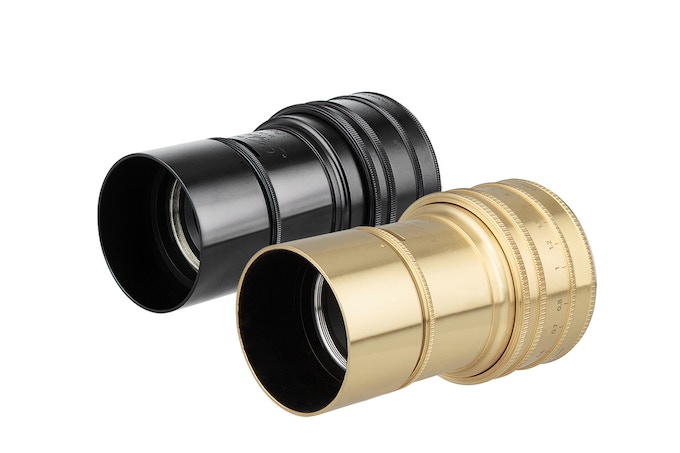 The final exterior design of the Daguerreotype Achromat Art Lens: available in a sleek gold or glossy black finish.