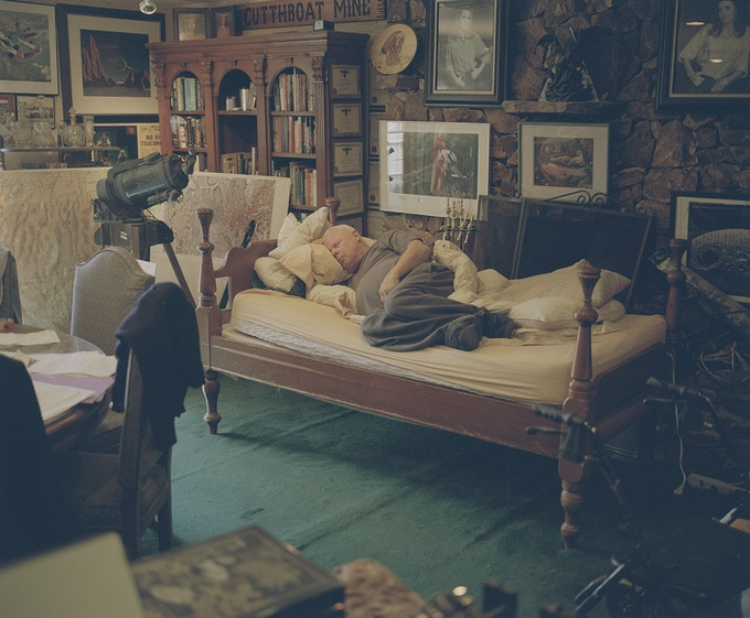 Former CIA pilot John Lear, known as The Godfather of Conspiracy, takes a nap in his office on the outskirts of Las Vegas.