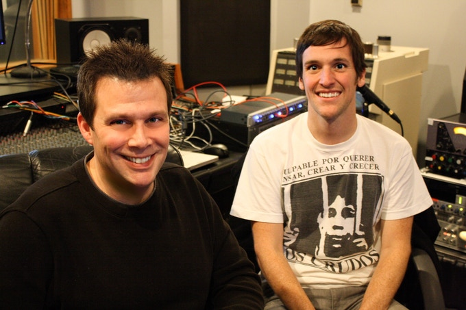 Mass Giorgini and Mike Kennerty (of All-American Rejects) at Sonic Iguana Studios.