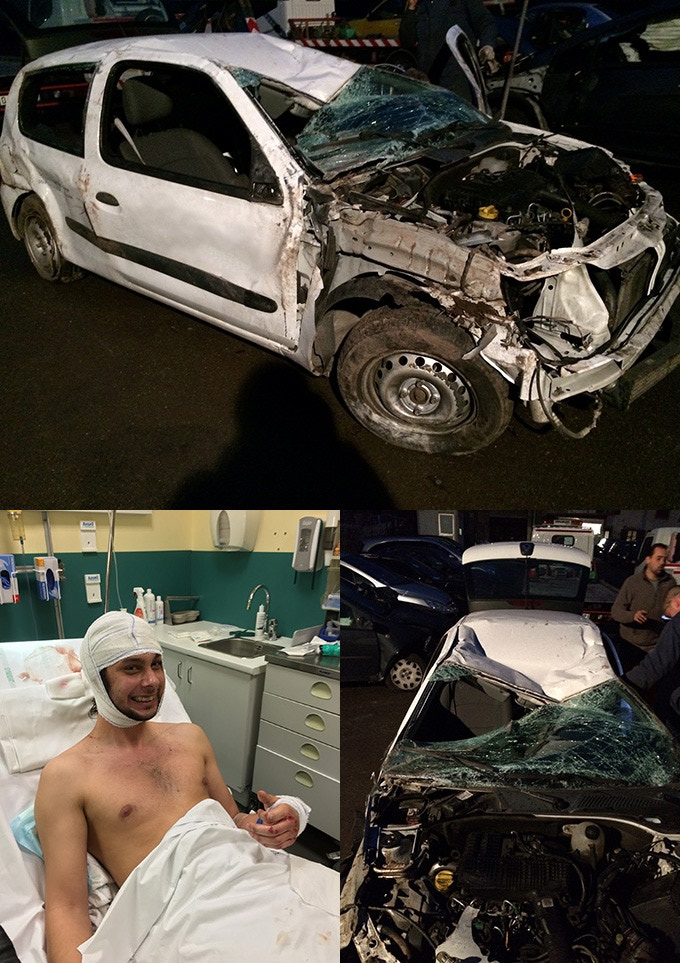 The car at the scrap yard and Sébastien at the Hospital