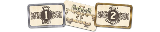 Each player gets 3 of each commendation card.