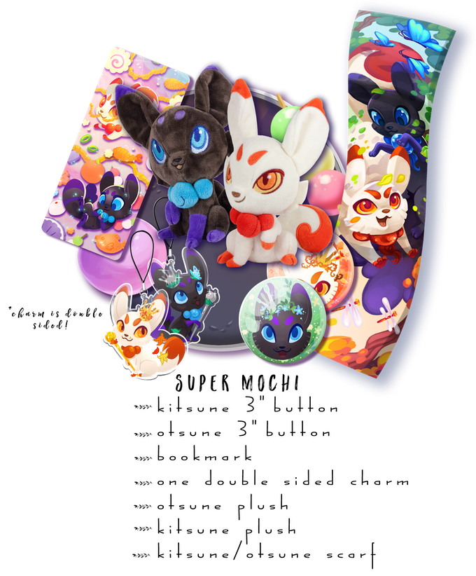 "Includes: One Kitsune Plush, One Otsune Plush, One Double Sided Charm, Both 3"" Buttons, 1 Bookmark, 1 scarf"