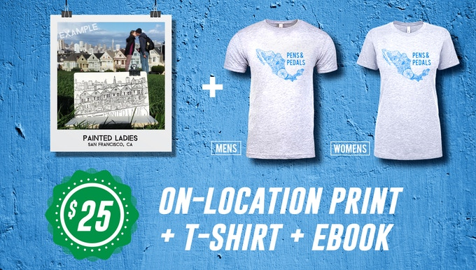 Includes: High quality, screenprinted T-Shirt + On-Location Print (from Mexico, of course!) + Pens & Pedals Ebook