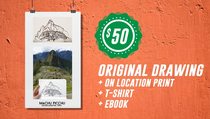 Includes: ORIGINAL DRAWING + 8x8 Color Print of On-Location Photo + High quality, screenprinted T-Shirt + Pens & Pedals Ebook