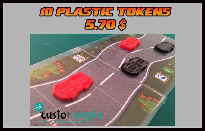 10 plastic tokens in different colors of our racing cars DD´