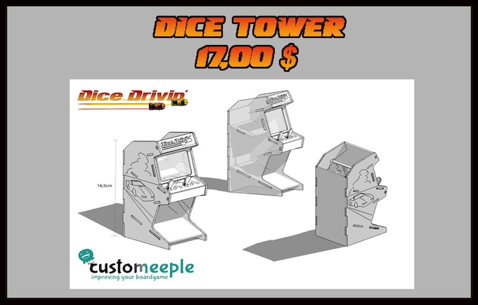 Arcade Dice Tower (printed with Dice Drivin´logo), made out of wood, supplied unpainted (16 -8,5 - 6,5 cm)
