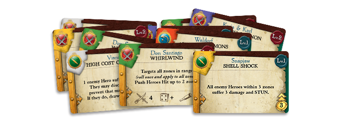 Each Hero has a set of three Skill Cards, which display their unique powers and abilities