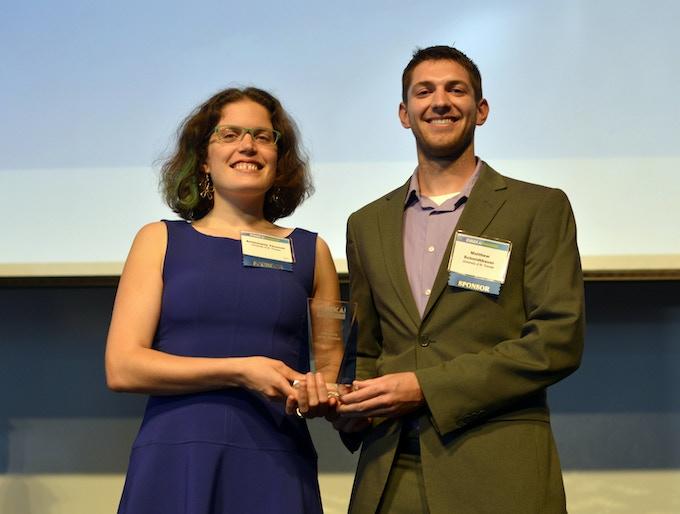 AnnMarie Thomas and Matthew Schmidtbauer accepting a 2015 Eureka Award for Squishy Circuits