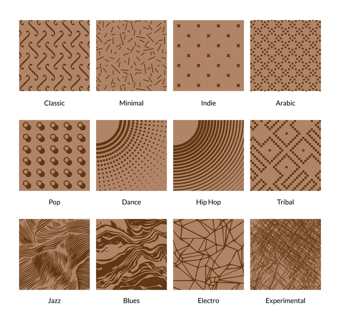Twelve textures to choose from