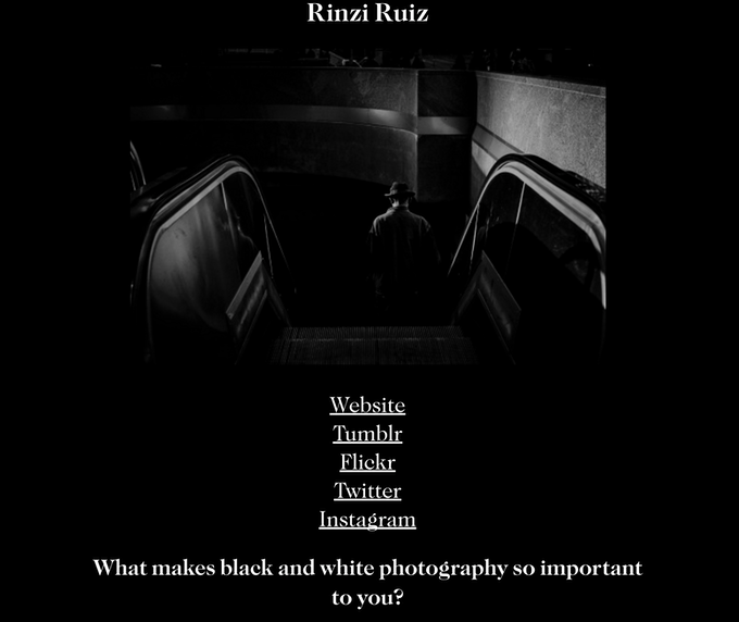 Here's an example of our interview with photographer Rinzi Ruiz