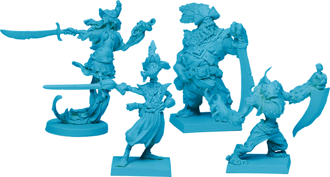 The Crew of the Deep Lords: Bosun [shown on round base- 6 in the Core Box], and 3 Deckhands [on square bases- 8 of each sculpt in Core Box!]