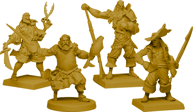 The Crew of Marea de la Muerte: Bosun [shown on round base- 6 in the Core Box], and 3 Deckhands [on square bases- 8 of each sculpt in Core Box!]