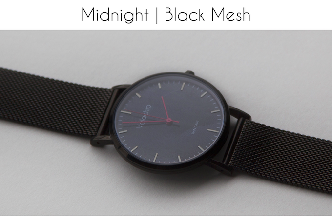 Red hands | Black-plated case | Black-plated mesh