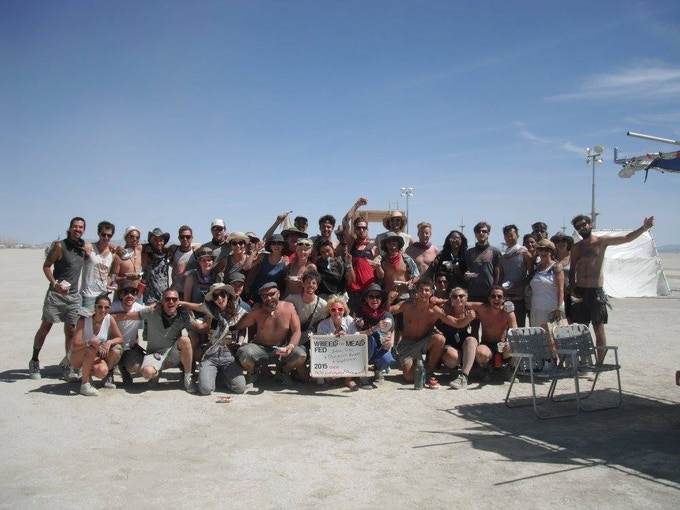 Last years three teams receiving food from 'Meals on Wheels' whilst constructing our projects on the playa.