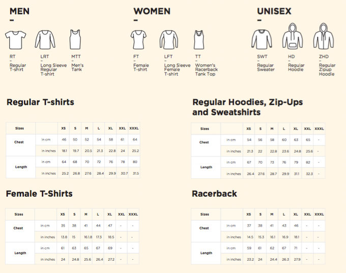 The sizing charts