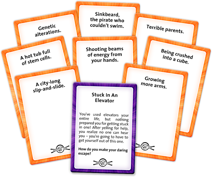 Stitch together Plot Cards from your hand to tell the prompted story. You can use as few or as many cards as you want – if you can justify it, you can use it!