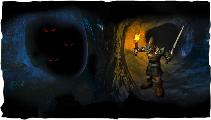 The Knight ventures into darkness with only a torch and his skill as a man-at-arms.