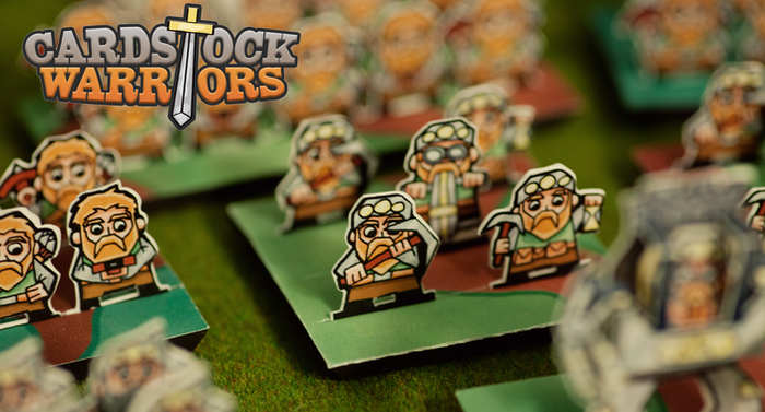 Cardstock Warriors is a print-and-play wargame.  Build huge armies and crush your foes on the tabletop without breaking the bank.