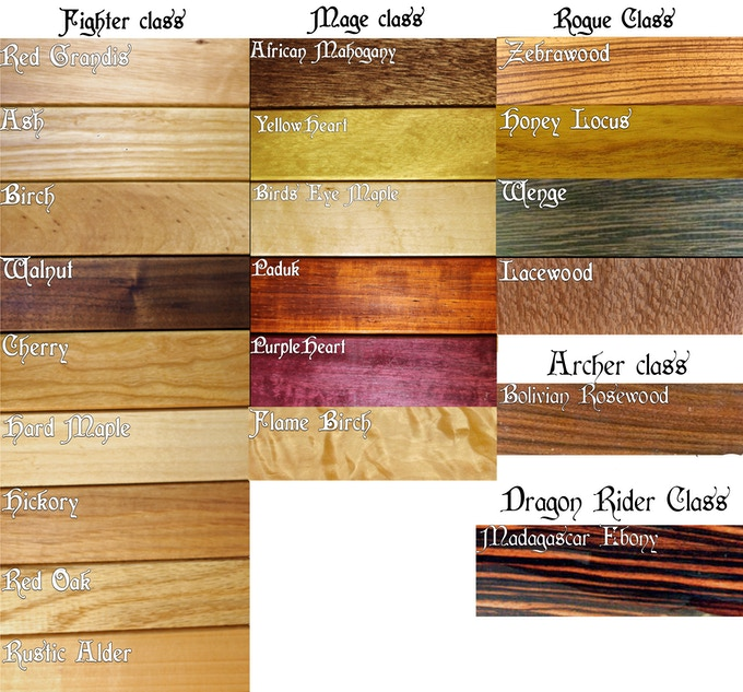 Note the only woods that are not listed here are the spalted tiers.