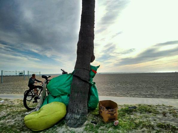 Sara Jean's makeshift home, Venice Beach, CA.