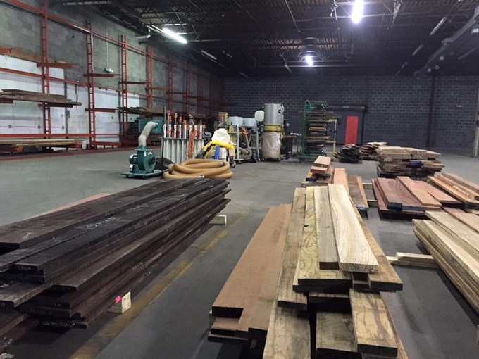 Some of our lumber and equipment in the new space
