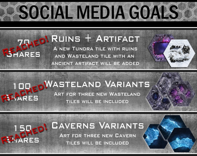Share the Kickstarter page, by clicking on the Facebook icon below the Project image. The social media stretch goals will be reached when the total number of Facebook shares meets the totals above.