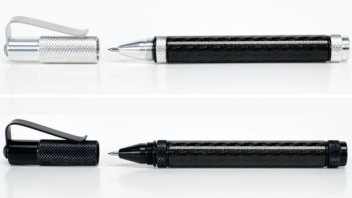 A tough, lightweight Carbon Fiber writing pen that uses the Pilot G2 refill. 2024 and 6061 Aluminum with Carbon Fiber barrel.