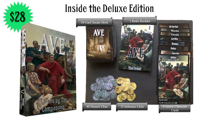 The Deluxe Edition includes a full-color rulebook, as well as 3mm thick cardboard Chits