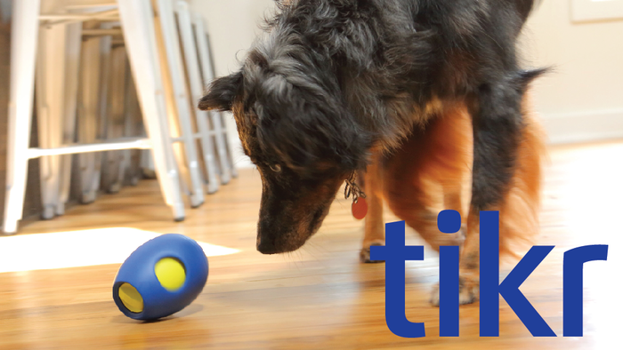 Fill tikr with treats - set the timer from 5 to 45 minutes. Tikr treats your dog during playtime, and encourages their curiosity!