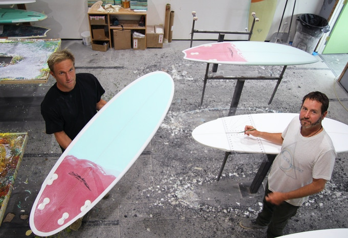 Quality Control with production partner Pat Quealy (Left) and shaper Jake Moss (right)