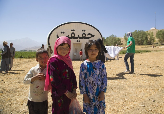 The Truth Booth getting setup in a potato field in Bamiyan, Afghanistan.