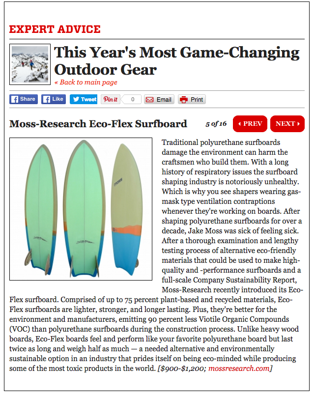 "Shout out in Men's Journal 2015 ""Most Game Changing Outdoor Gear"""