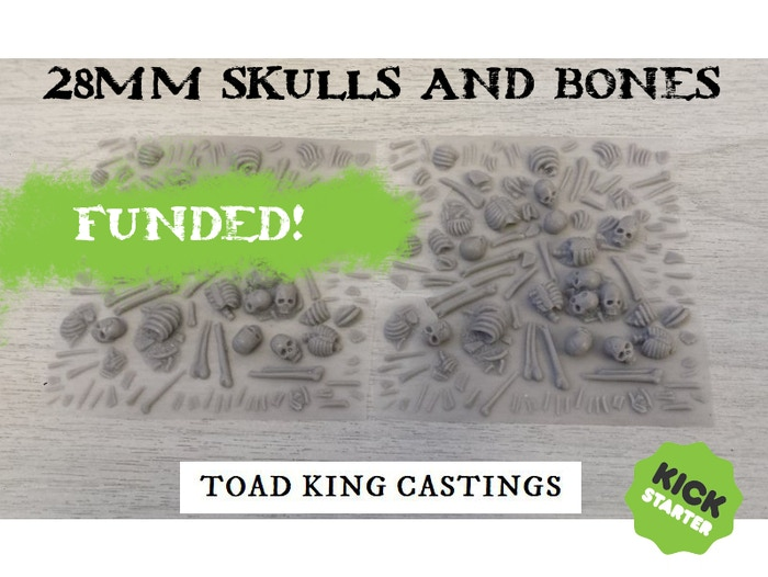To launch a 28mm resin Skulls and Bones sheet for detailing bases along with new Skull and Bone items to compliment our existing range.