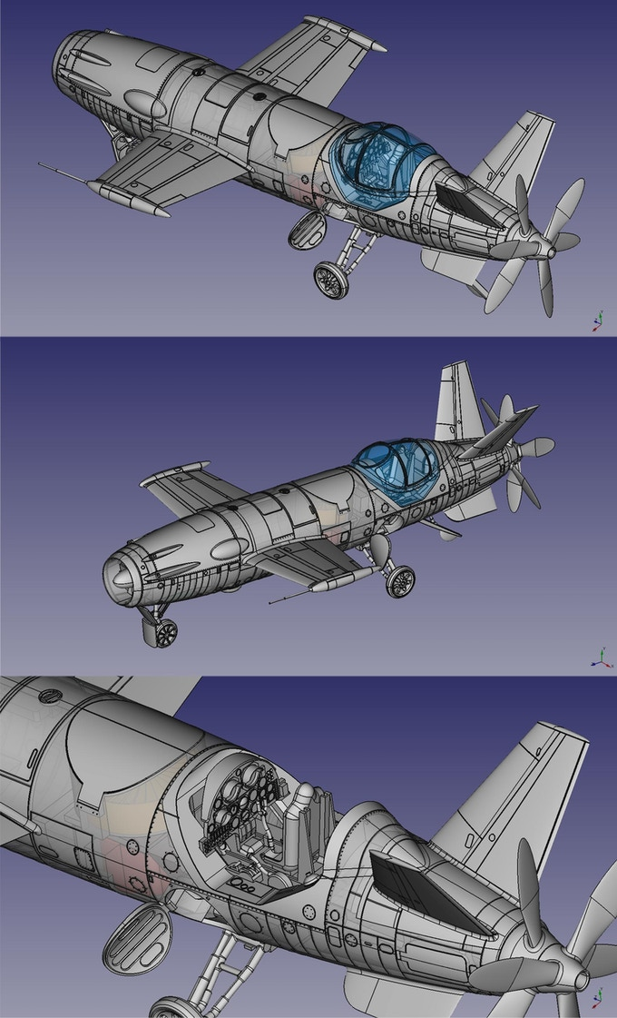 Different views of the basic kit with the landing gear unfolded