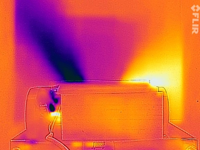 Infrared camera shows a profile view of the working Noria prototype. A pane of plastic was placed across the fans to capture the difference in temperature. Cold (inside of room) is shown in dark blue, hot (outside of building) is shown in yellow.