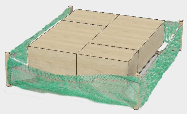 Stanchions with shrimp trawler netting panels