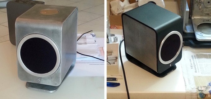 Raw unpainted prototype (left), the first working prototype (right)