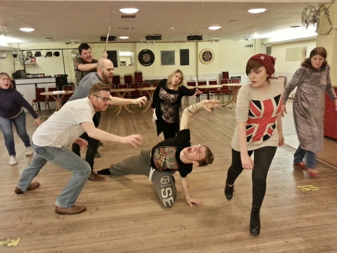 The cast (Featuring John Hooper and Sergio Taddia) during a recent rehearsal.
