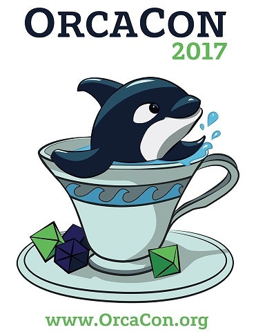 OrcaCon 2017 T-shirt features an Orca in a teacup with dice as sugar cubes.