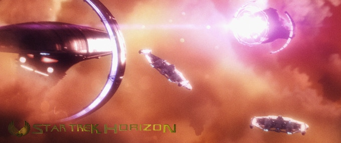 A still from one of the epic space battles in Horizon.