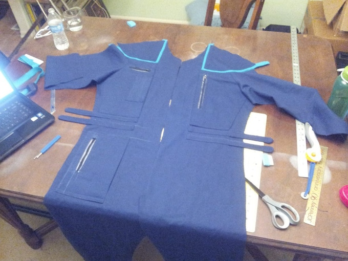 A work-in-progress science officer uniform from our previous film.