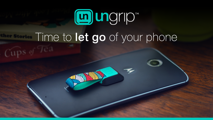 Ungrip is a simple, effective and beautiful solution to hold your phone in a flexible way. It attaches to most phones and cases.
