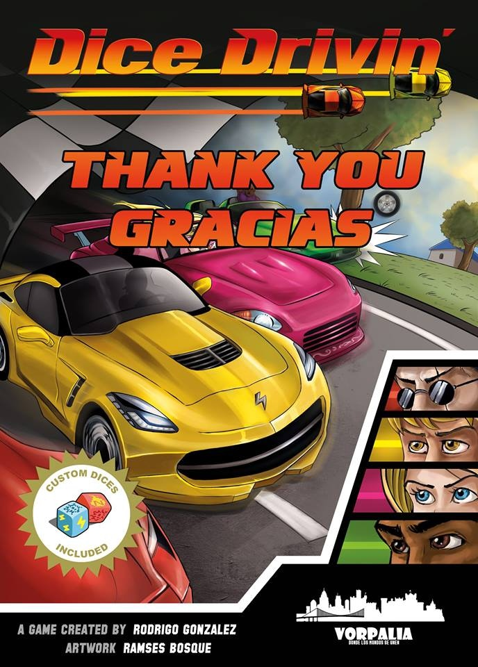 It´s a tiny driving game, but a truly racing one. Few random cards will form track. Grab your car & custom dice and run for victory!