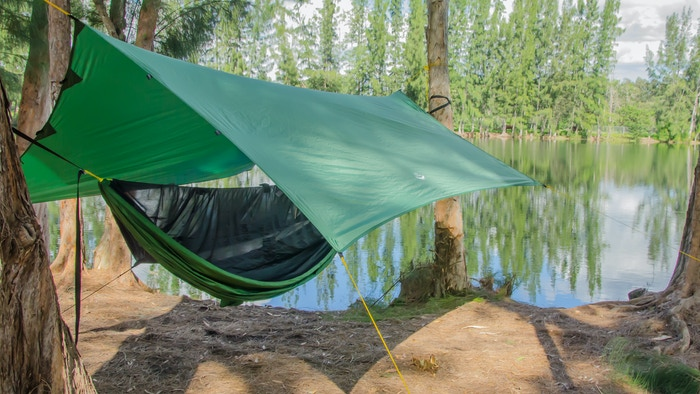 Hammock camping & all-purpose camping tarp that protects you and your gear from rain, wind, sun and snow!