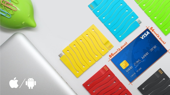 A CARD-SHAPED SELF-COLLAPSIBLE DATA CABLE : Eliminate Clunky, Annoying Cords for Good!