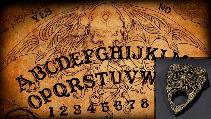 Limited Edition Cthulhu talking board with a unique sculpted & hand-painted planchette…  communicate with Cthulhu through his dreams!