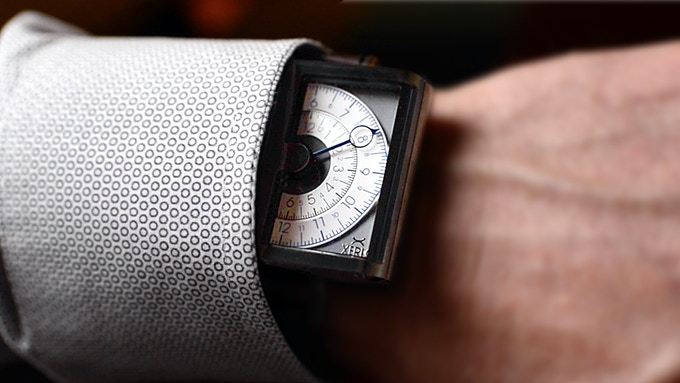 Nicknamed the 'Cuffbuster' as it peeks out your shirt cuff for a quick glance of the time