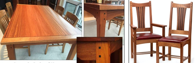 Custom crafted hardwood table or chair engraved with your name